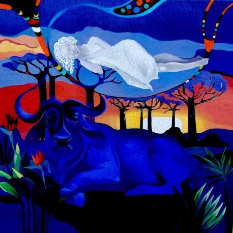 """Т.Биновская """"Сны"""" холст/масло, 70х70 Серия """" Магия Африки""""  оригинал продан"""