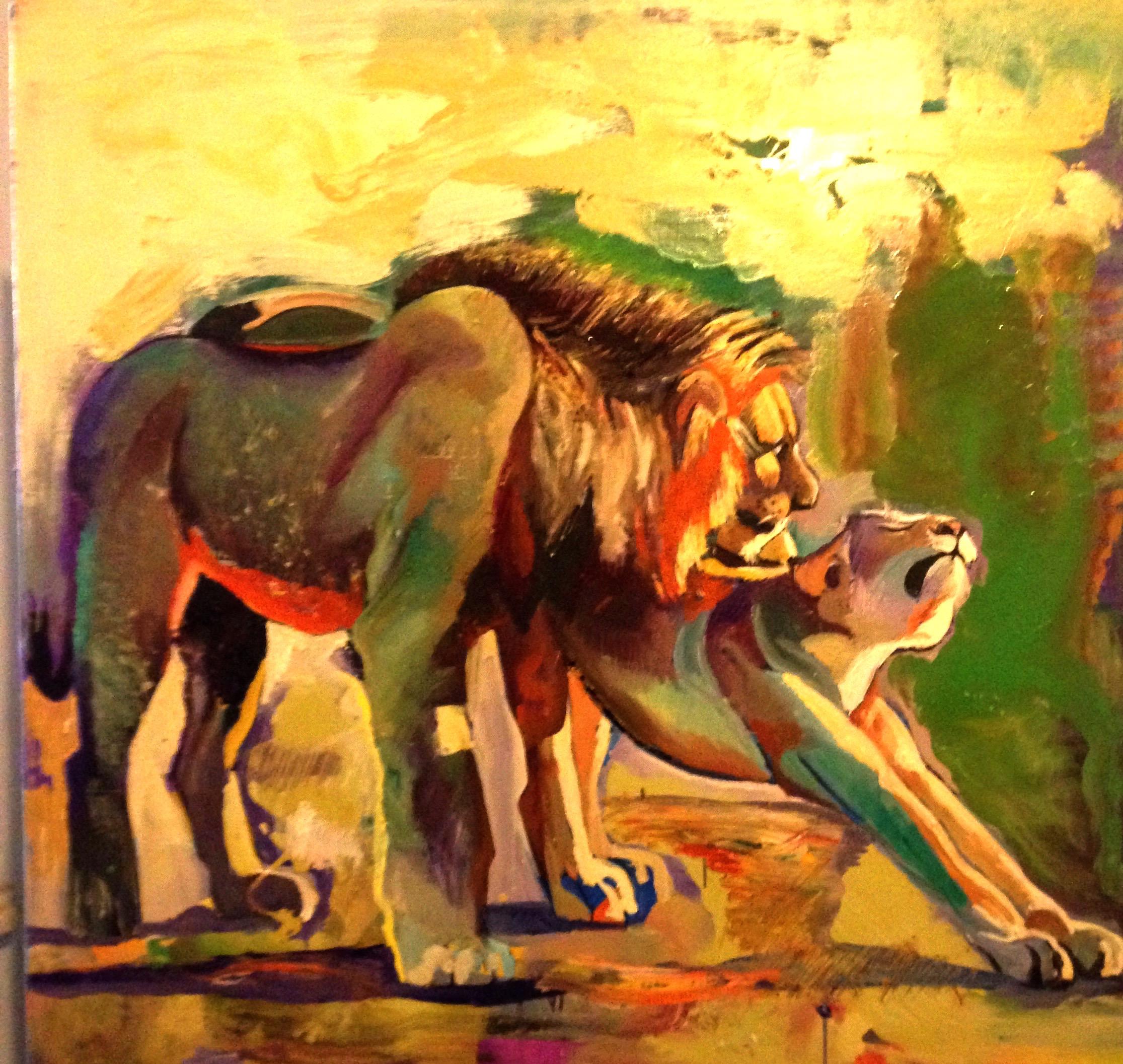 """Т.Биновская """"Утро в саванне""""  холст/масло, 70х70  Серия """"Ах, Африка"""""""