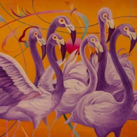 """Purple Flamingos""(Prints, posters)"