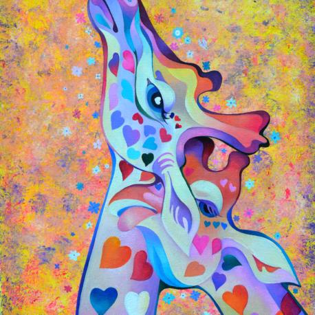 """Т.Биновская  """"Влюбленные жирафы"""" холст/масло 70х50см Серия """"Австралия"""""""