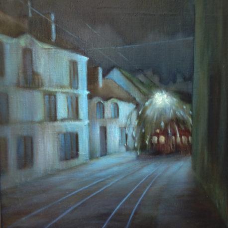 "Юрий Матвеев ""Последний трамвай"" холст/масло, 50х60 см, 1993 год"