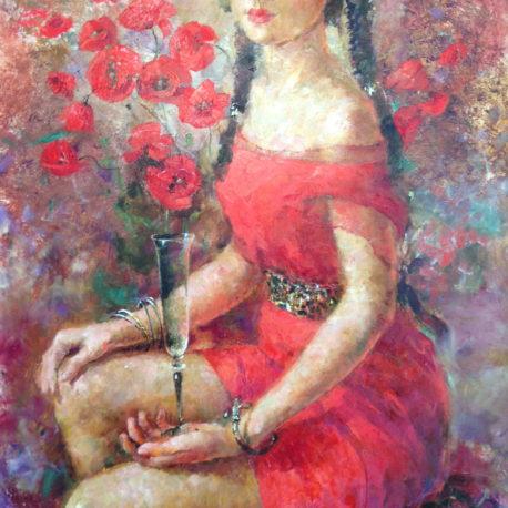 """Елена Ильичева """"Красная амазонка"""" холст/масло, 90х60, 2008"""