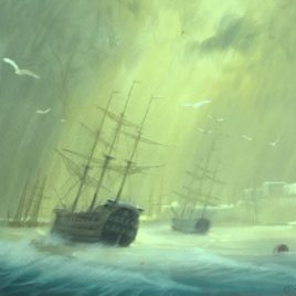 "Unknown Artist ""Ships in the raid'"