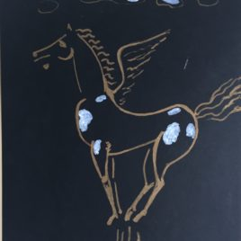 """A. Knyazik """"Pegasus"""" paper / gouache"""