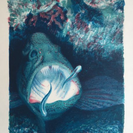 "Ludmila Karachentseva ""Exotic fish"" etching, 40x30, 1996"