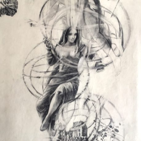 "N. Popova-Severin ""Connecting of energies"" pencil on paper, 60x39 sm"