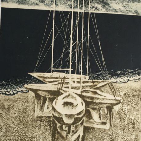 "A. Sinishin ""Yachts on the coast"" paper / cm. Technique 39.7 x 29.5 cm, 2000"