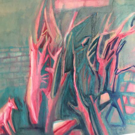 "Y. Zilberberg ""Forest"" cardboard / watercolor 41x53"